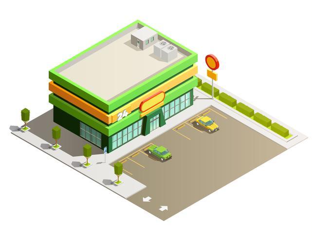 Vista esteriore isometrica della costruzione del deposito del supermercato vettore