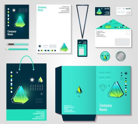 Design di elementi di identità corporativa di cristalli poligonali vettore