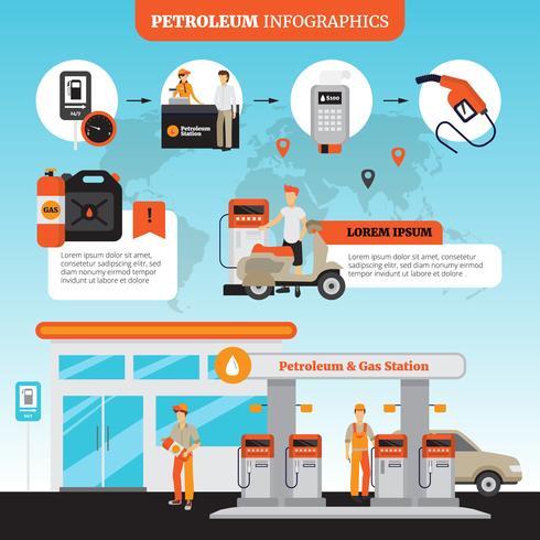 Set Infographic della stazione di servizio vettore