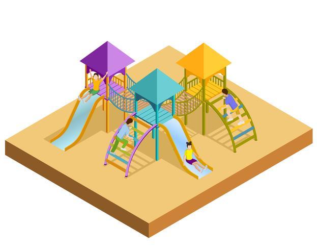 Composizione isometrica per parco giochi vettore