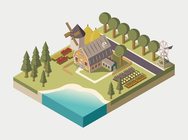Illustrazione isometrica della fattoria vettore