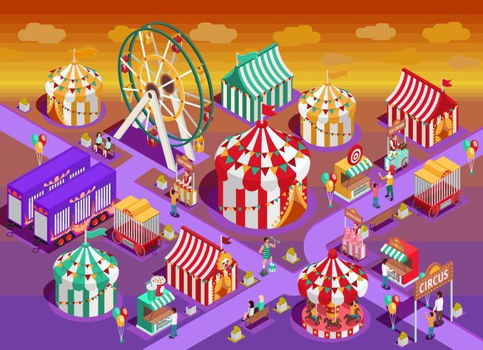 Illustrazione isometrica delle attrazioni del circo del parco di divertimenti vettore