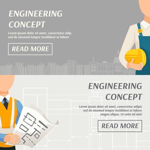 Banner orizzontale di concetto di ingegneria vettore