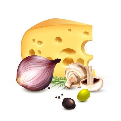 Poster di sfondo realistico di formaggio cipolla olive vettore