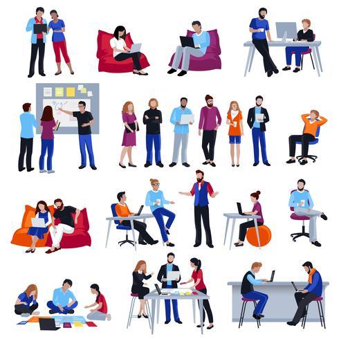 Icone isolate gente di Coworking messe vettore