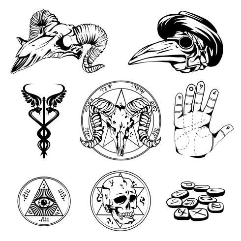 Insieme di abbozzi di simboli esoterici e attributi occulti vettore