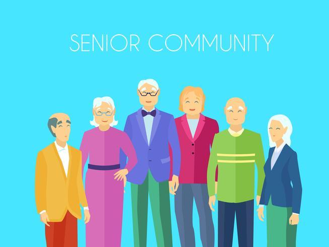 Senior Community People Group Poster piatto vettore