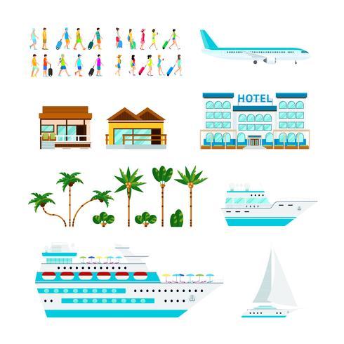 Set di elementi di crociera tropicale vettore