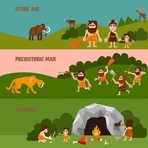 Banner orizzontale Stone Age vettore