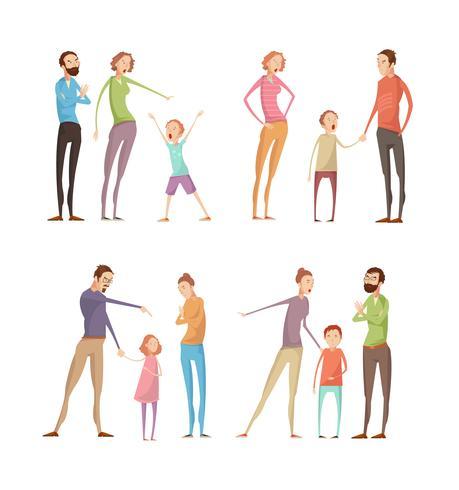 Abuso di adulti Set di bambini vettore