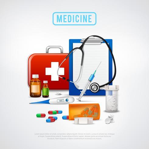Sfondo kit di strumenti medici vettore