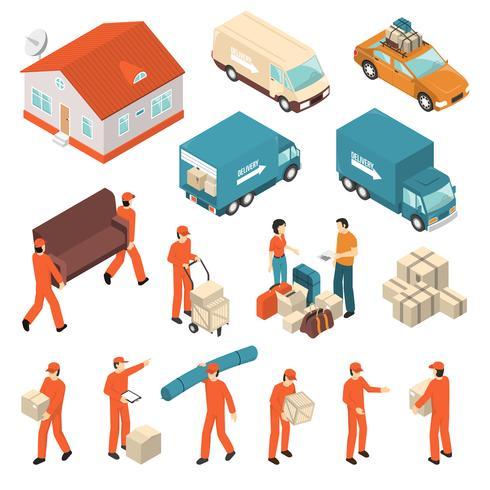 Set di icone isometriche di servizio società in movimento vettore