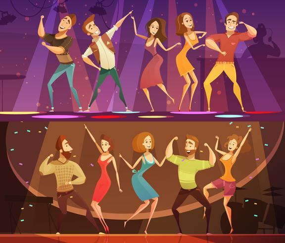 Set di banner danza discoteca night club vettore
