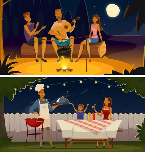 Night Barbecue Party Cartoon Retro Banners vettore