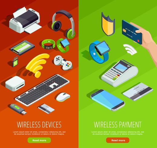 Set di banner verticale isometrica tecnologia wireless vettore