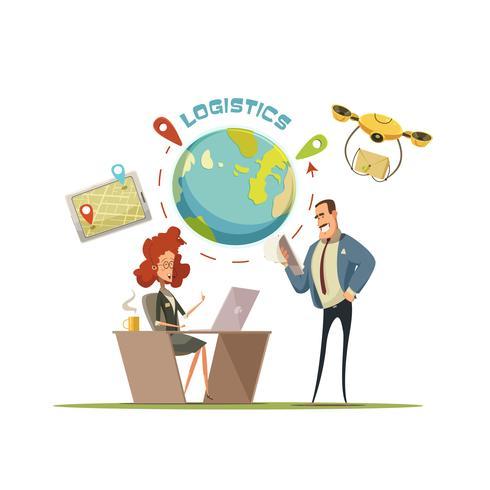 Illustrazione di concetto di consegna e logistica vettore