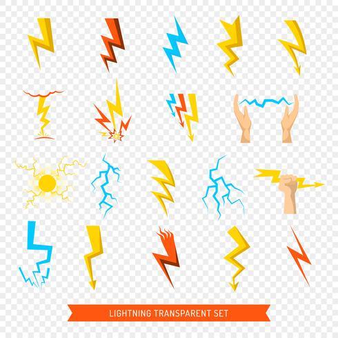 Set di icone lampo trasparente vettore