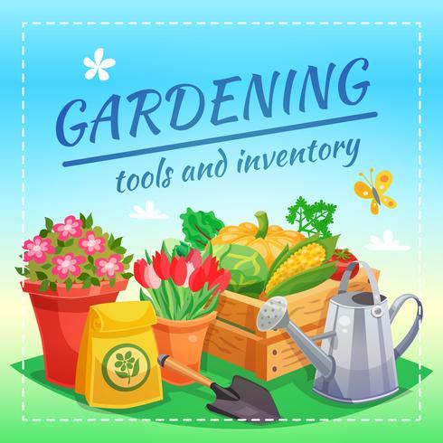 Strumenti di giardinaggio e concetto di design di inventario vettore