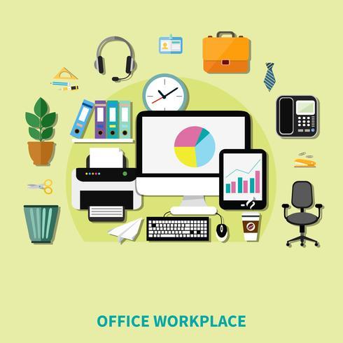 Composizione del posto di lavoro dell'ufficio vettore