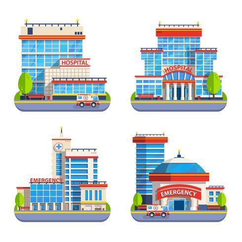 Icone piane isolate dell'ospedale vettore