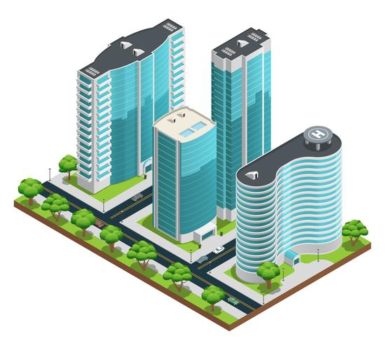Composizione di città moderna isometrica vettore