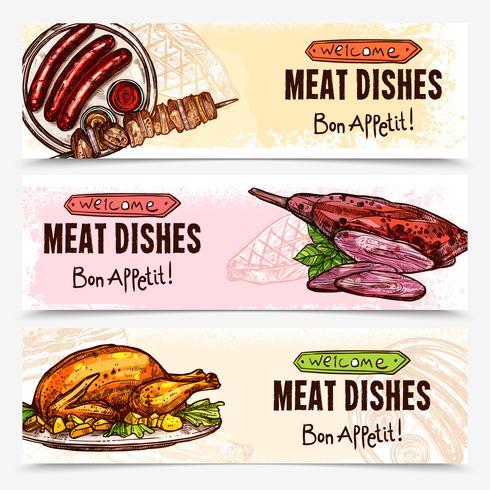 Bandiere orizzontali di carne disegnata a mano vettore