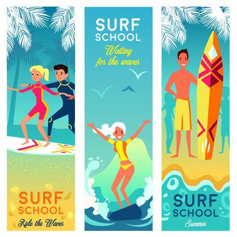 Banner verticale di scuola di surf vettore