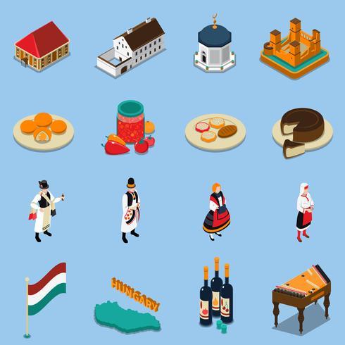 Set di icone turistiche isometriche di Ungheria vettore