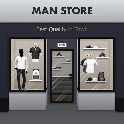 Man Sportswear Store Realistic Street View vettore