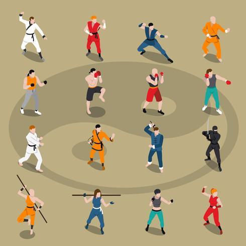 Set di persone isometriche di arti marziali vettore