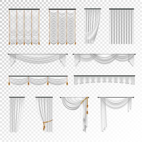Trasparente tende tendaggi insieme realistico sfondo vettore