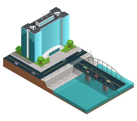 Composizione isometrica città moderna vettore