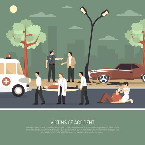 Poster di incidente stradale First Aid Flat vettore