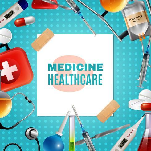 Telaio di sfondo colorato prodotti accessori medici vettore