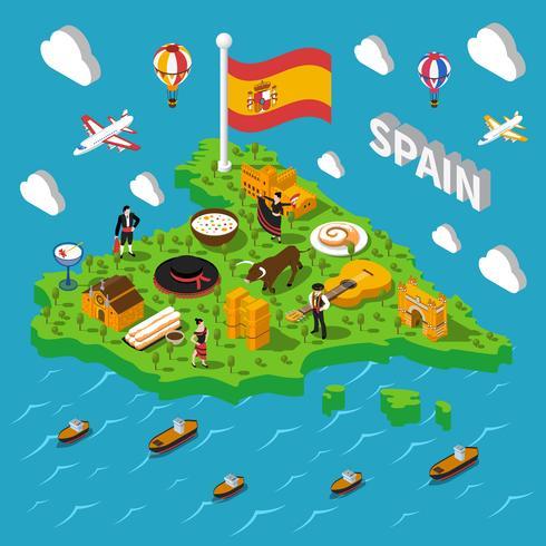 Illustrazione isometrica della mappa della Spagna vettore