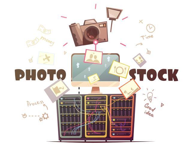 Illustrazione di concetto di industria foto microstock retrò vettore