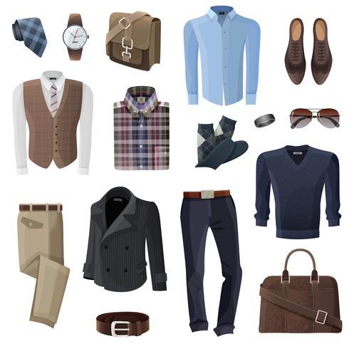 Set di accessori moda uomo d'affari vettore