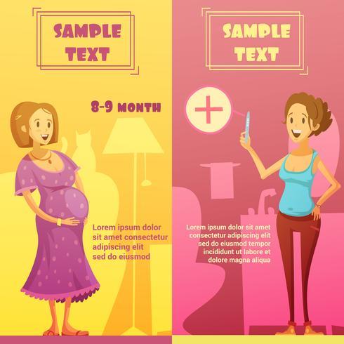 Set di banner retrò verticale gravidanza 2 vettore