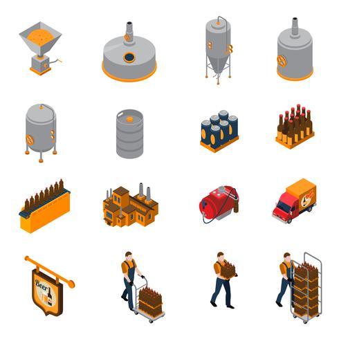 Set di icone isometriche di fabbrica di birra vettore