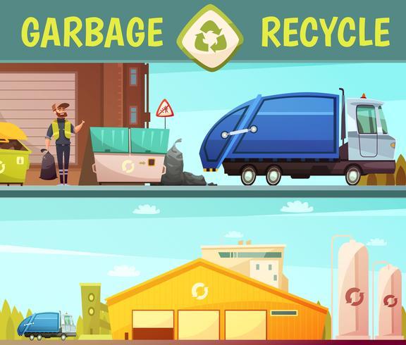 Garbage Recycling Company 2 Banner di cartone animato vettore