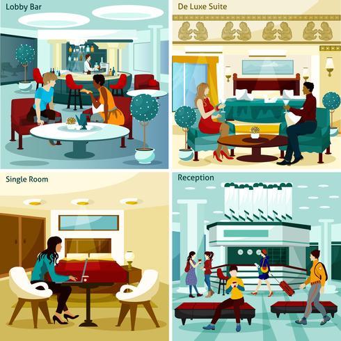 Set di icone di interni hotel concetto vettore