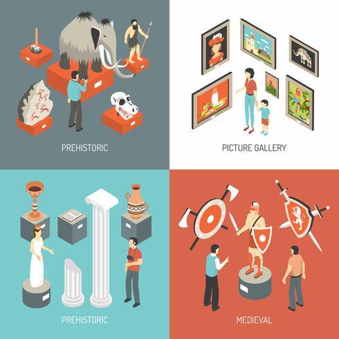 Quadrato isometrico delle icone di arte museo 4 vettore