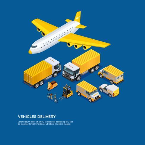 Set isometrico di trasporto vettore