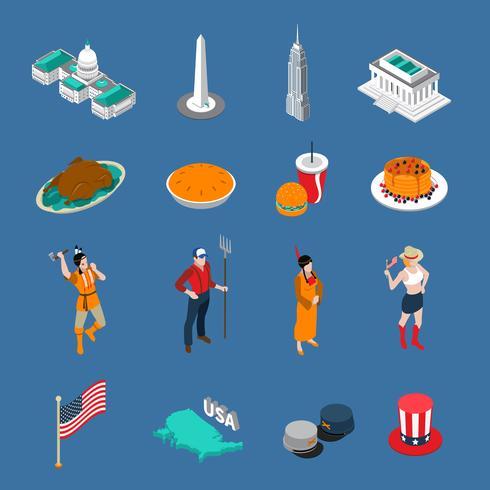 Set di icone turistiche USA vettore