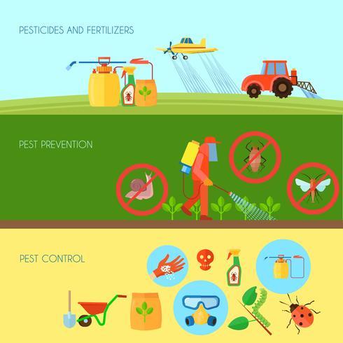 Set di banner di pesticidi vettore