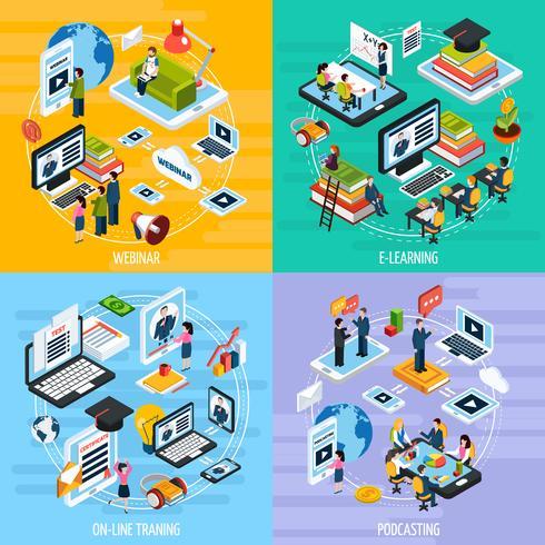 Set di icone di concetto di webinar vettore