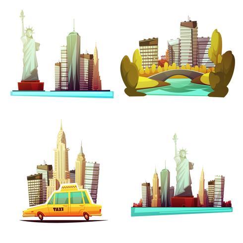 composizioni di design di New York downtown 2x2 vettore