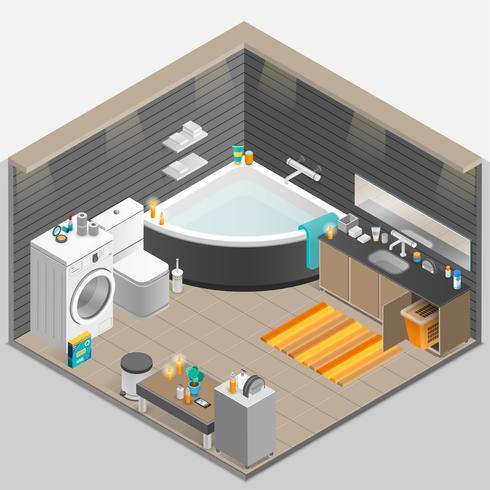 Illustrazione isometrica del bagno vettore