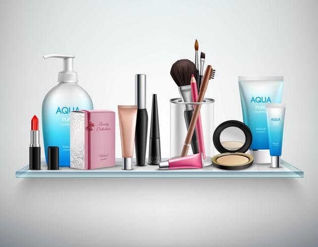 Immagine realistica dello scaffale degli accessori dei cosmetici di trucco vettore