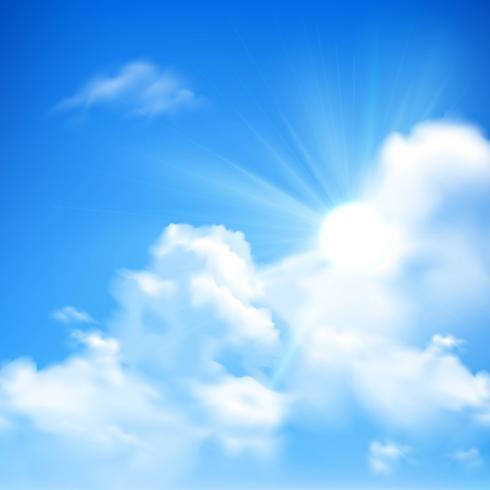 Sfondo di sole e nuvole vettore